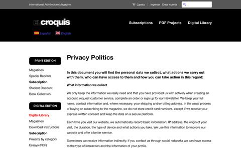 Screenshot of Privacy Page elcroquis.es - El Croquis. Revista Internacional de Arquitectura. - captured Oct. 29, 2018