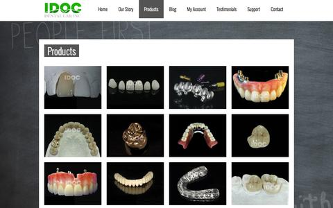 Screenshot of Products Page idocdentallab.com - LAVA, emax, BRUXZIR, Veneers, Overdentures, All Natural Full Denture, Valplast, tcs, Nightguards, Bio-Flex Thermoplastic, Fixed Implant Hybrid, Custom Abutment, Inlays, Onlays, CeramageIDOC Dental Lab - captured Sept. 30, 2014