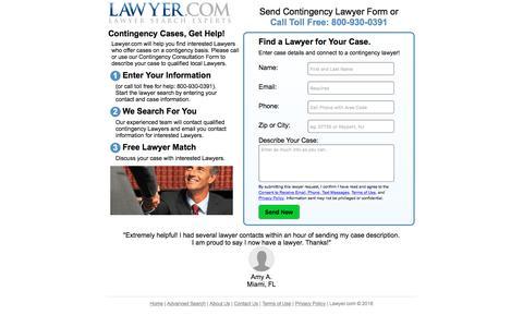 Screenshot of Landing Page lawyer.com - Free Contingency Lawyer Form - captured Sept. 19, 2018