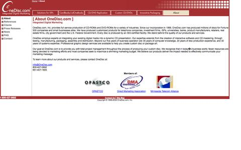 Screenshot of About Page onedisc.com - Custom CDs & DVDs, ISP Internet Setup, Promotional CD, Business Card CD-ROM, Advertising DVD, miniCD, mini DVD-ROM - captured Oct. 26, 2014