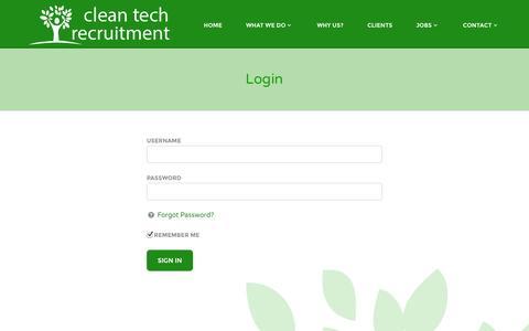 Screenshot of Login Page cleantechrecruitment.com - Login | cleantech - captured Nov. 2, 2014