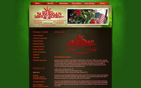 Screenshot of About Page suburbanlg.com - Suburban Lawn & Garden, locally grown plants and landscape supplies - captured Feb. 16, 2016