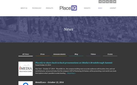 Screenshot of Press Page placeiq.com - News   PlaceIQ - captured Oct. 28, 2014