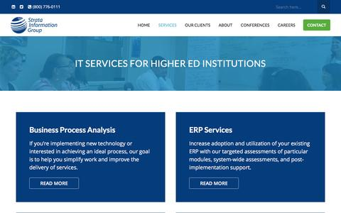Screenshot of Services Page sigcorp.com - IT Services for Higher Ed Institutions - Strata Information Group - captured Dec. 18, 2016
