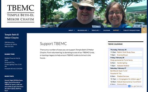 Screenshot of Support Page tbemc.org - Support TBEMC | TBEMC - captured Feb. 25, 2016