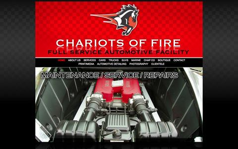 Screenshot of Home Page cofcustoms.com - Chariots of Fire • Full Service Automotive Facility - captured Oct. 2, 2014