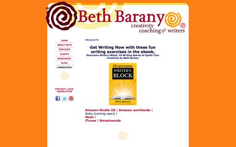 Screenshot of Products Page bethbarany.com - Beth Barany   Creative Fun Products for Writers to Help You Write, Market, and Publish Your Books - captured Sept. 24, 2014