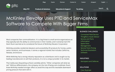 Screenshot of Case Studies Page ptc.com - McKinley Elevator Uses PTC and ServiceMax Software to Compete With Bigger Firms | PTC - captured Nov. 13, 2018