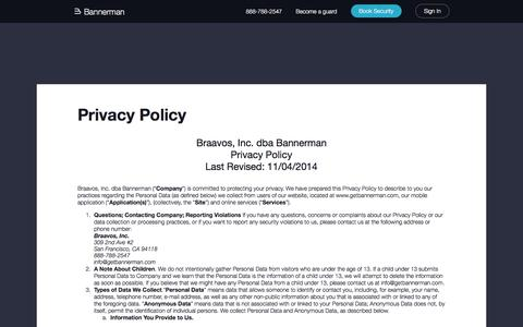 Screenshot of Privacy Page bannerman.com - Privacy Policy - Bannerman - captured April 20, 2016
