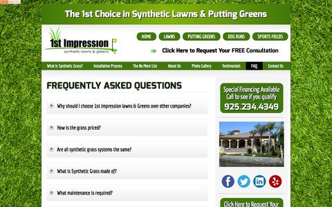 Screenshot of FAQ Page 1stimpressionlawns.com - Frequently Asked Questions - captured Feb. 13, 2016