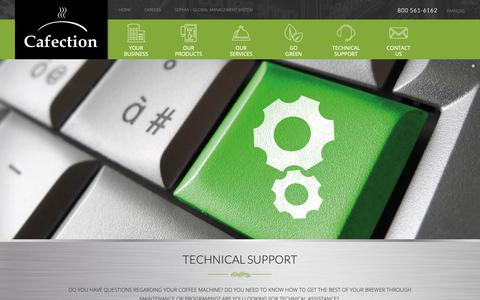 Screenshot of Support Page cafection.com - Technical support | Cafection Coffee Machine | Quebec - captured Sept. 26, 2018