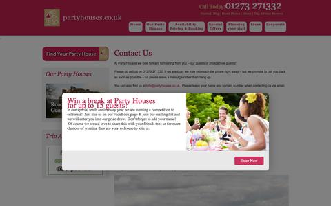 Screenshot of Contact Page partyhouses.co.uk - Contact Us - Party Houses - captured Oct. 1, 2014