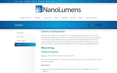 Screenshot of Jobs Page nanolumens.com - Careers - captured July 20, 2014