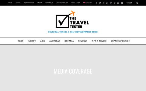 Screenshot of Press Page thetraveltester.com - Media Coverage: The Travel Tester Interviews & Mentions - captured Sept. 21, 2018