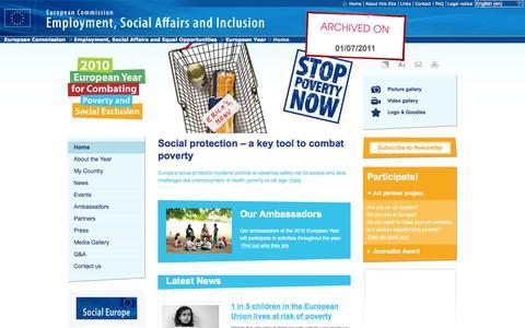 Screenshot of europa.eu - EY2010 | Home - European Year - EU - captured Oct. 3, 2015