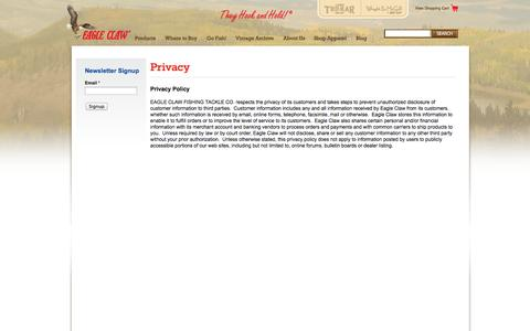 Screenshot of Privacy Page eagleclaw.com - Privacy   Eagle Claw - captured Oct. 30, 2014