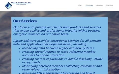 Screenshot of Services Page jigsawsoftwareinc.com - Services - JIGSAW SOFTWARE, INC. - captured Sept. 20, 2018