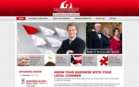 Screenshot of Home Page northgatewaychamber.org - Main | Chamber of Commerce at Anthem - captured Oct. 2, 2014