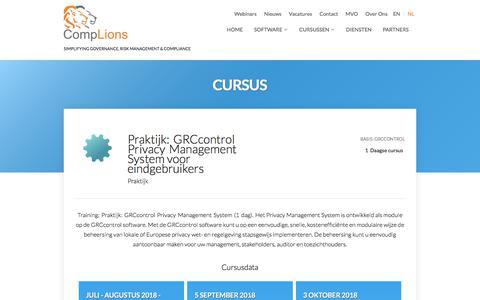 Screenshot of Privacy Page complions-grc.nl - Praktijk:GRCcontrolPrivacyManagementSystem voor eindgebruikers |  GRC control cursus - captured July 8, 2018