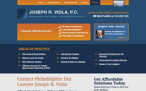 Screenshot of Contact Page jrviola.com - Contact | Joseph R. Viola, P.C. | Philadelphia, Pennsylvania - captured Oct. 6, 2014