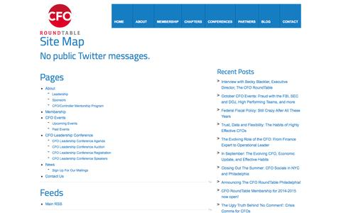 Screenshot of Site Map Page thecforoundtable.com - Site Map | The CFO RoundTable - captured Oct. 26, 2014