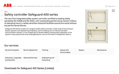 Screenshot of Support Page abb.com - Safeguard 400 - Safeguard (Safety Systems)   ABB - captured Nov. 9, 2019