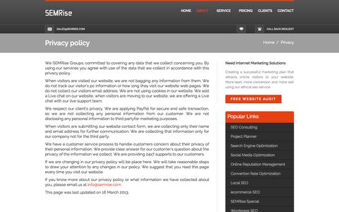 Screenshot of Privacy Page semrise.com - Privacy policy - captured Sept. 30, 2014