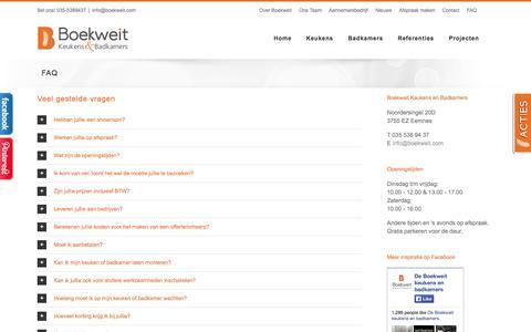 Screenshot of FAQ Page boekweit.com - Veel gestelde vragen/FAQ - captured Nov. 3, 2014