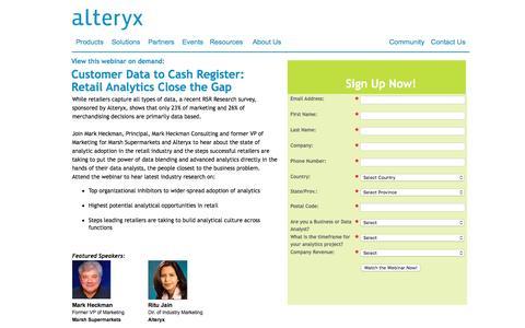 Screenshot of Landing Page alteryx.com - Customer Data to Cash Register: Retail Analytics Close the Gap - captured May 23, 2016