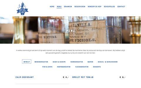 Screenshot of Menu Page kopvandehaven.nl - Menu | Kop van de Haven - captured Aug. 9, 2016