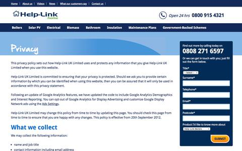 Screenshot of Privacy Page help-link.co.uk - Privacy   Help-Link Home - captured Sept. 19, 2014