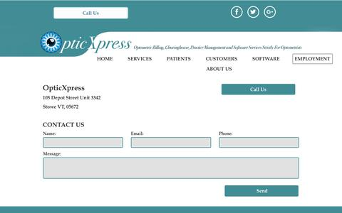Screenshot of Contact Page optometric-billing.com - OpticXpress Optometric Billing Services | Optometry Billing Services - captured July 9, 2018