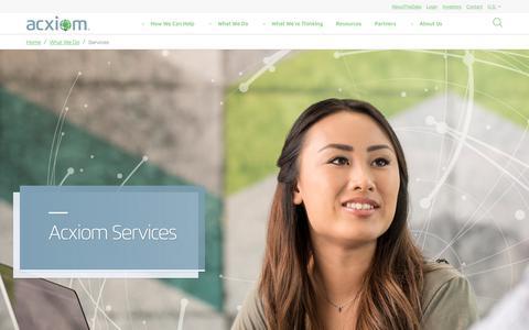 Screenshot of Services Page acxiom.com - Services - Acxiom - captured April 10, 2018