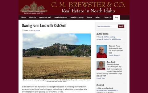 Screenshot of Blog cmbrewster.com - Blog — C.M. BREWSTER & COMPANY Real Estate in North Idaho - captured Oct. 1, 2014