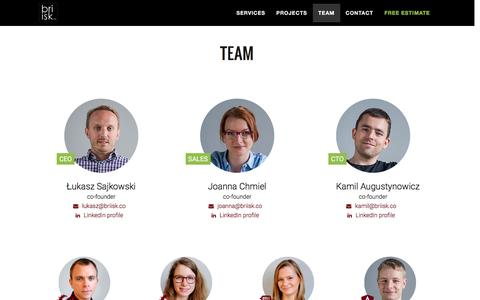 Screenshot of Team Page briisk.co - AngularJS & Ruby on Rails web software - captured Nov. 23, 2016