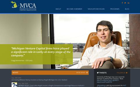 Screenshot of Home Page michiganvca.org - Investing in Our Future - Michigan Venture Capital Association - captured Sept. 25, 2015