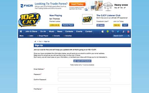 Screenshot of Signup Page cjcyfm.com - Sign Up | Club | 102.1 CJCY FM Medicine Hat - captured Oct. 27, 2014