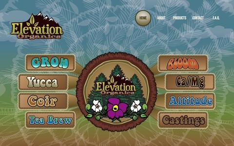 Screenshot of Home Page elevationorganics.com - Home - captured Sept. 29, 2014