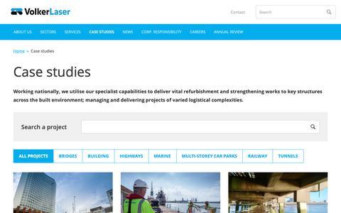Screenshot of Case Studies Page volkerlaser.co.uk - Case studies         -     VolkerLaser - captured Oct. 20, 2018