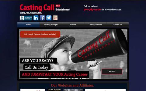 Screenshot of Home Page castingcallentertainmentinc.com - Acting Classes Las Vegas, Las Vegas Photographers - captured Oct. 2, 2014