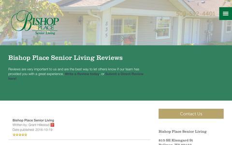 Screenshot of Testimonials Page milestoneretirement.com - Senior Living Resources | Bishop Place Senior Living - captured Jan. 25, 2017
