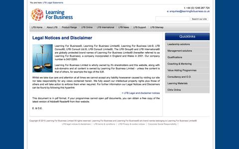 Screenshot of Terms Page learningforbusiness.co.uk - Legal statements - captured Jan. 27, 2016