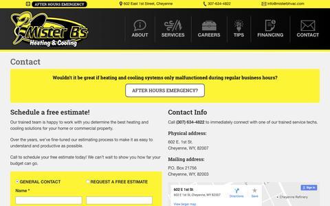 Screenshot of Contact Page misterbhvac.com - Contact - Mister B's HVAC - captured Nov. 29, 2016