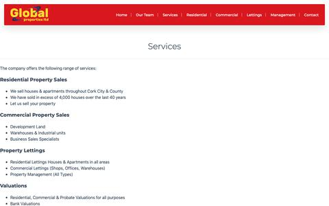 Screenshot of Services Page globalproperties.ie - Services » Global Properties Ltd - captured Dec. 15, 2018