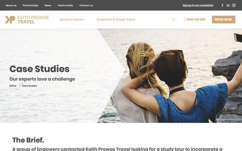Screenshot of Case Studies Page kpt.com.au - Case Studies - Keith Prowse Travel - captured Oct. 15, 2018