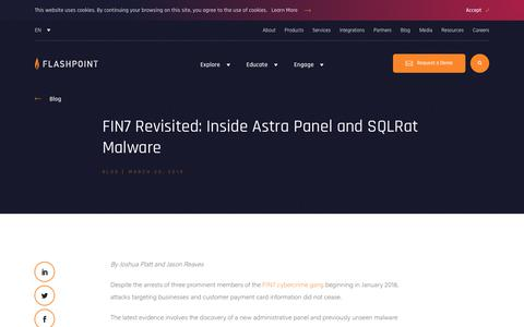 Screenshot of Blog flashpoint-intel.com - Flashpoint - FIN7 Revisited: Inside Astra Panel and SQLRat Malware - captured Nov. 12, 2019