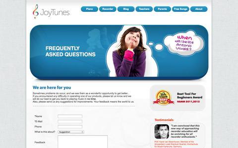 Screenshot of Support Page joytunes.com - JoyTunes Support | Contact Support Representatives - captured Sept. 16, 2014