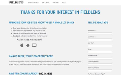 Screenshot of Signup Page fieldlens.com - FieldLens 15 Day Trial Registration - captured Sept. 16, 2014