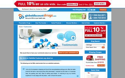 Screenshot of Testimonials Page globaldiscountdrugs.com - Testimonials: Customers Experience at GlobalDiscountDrugs.com - captured Oct. 3, 2014