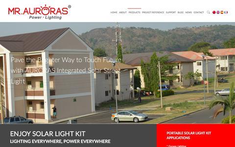 Screenshot of Products Page auroraslighting.com - Commercial High Power Solar LED Batten Light 丨 Solar LED Street Light丨Solar LED Flood Light Manufacturer | Auroras Innotech - captured Sept. 25, 2018